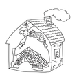 Small home young man black and white vector image