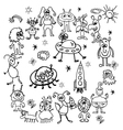 hand drawn cartoon sketch of monsters vector image