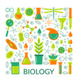 a set of scientific biological icons vector image vector image