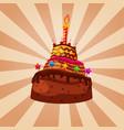 birthday cake chocolate caramel decorated vector image