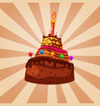 birthday cake chocolate caramel decorated with vector image