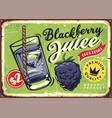 blackberry juice retro poster vector image vector image