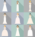 brids in wedding dresses vector image