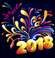 bright new year card with fireworks and figures vector image