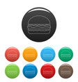 burger icons set color vector image vector image