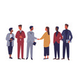 businessman and businesswoman shaking hands flat vector image