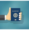 Businessman Hand Hold Passport vector image vector image
