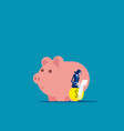 businesswoman working near piggy concept business vector image vector image