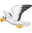 Cartoon flying seagull isolated