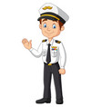 cartoon happy captain waving hand vector image vector image