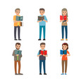cartoon reading people male and female books vector image vector image
