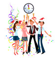 cartoon workers celebrating new year in office vector image