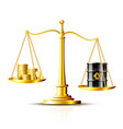 classic scales with an oil barrel and gold coins vector image vector image