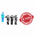 collage army squad with distress air force stamp