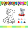 coloring book koala riding car cartoon vector image vector image