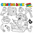 coloring book with pirates 1 vector image vector image