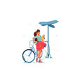 confusion woman lost with bicycle vector image vector image