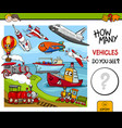 counting vehicles educational game vector image vector image