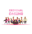 criminal casino background composition vector image vector image
