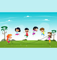 cute little children playing rope jumping together vector image