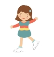 Cute little girl ice skating vector image