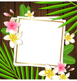Decorative floral frame with tropical flowers vector image vector image