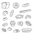 doodle bread bread donuts vector image