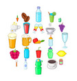 drunkenness icons set cartoon style vector image