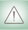 exclamation danger sign flat style brown vector image