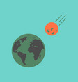 Flat icon on stylish background meteorite earth vector image