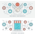 Flat line Business Partnership and Internet vector image
