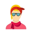 Girl with glasses icon flat style vector image