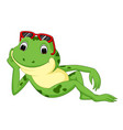 green frog with happy smile vector image vector image