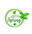 green leaf happy spring blooming icon vector image