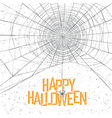 Halloween background with spider web and text vector image vector image