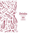 hand drawn alcohol drink bottles vector image