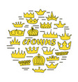 hand drawn crowns set vector image vector image