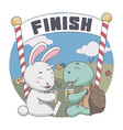 happy rabbit and turtle drink together after race vector image vector image