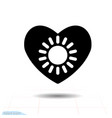 heart black icon love symbol the sun in vector image