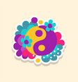 hippie yin and yang symbol with flowers cute vector image