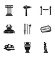 Historical museum icons set simple style vector image