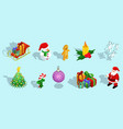 isometric christmas icons set vector image