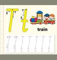 letter t tracing alphabet worksheets vector image