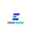 logo mark e letter with arrows vector image