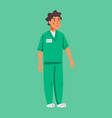 male social worker or nurse wearing a green vector image vector image