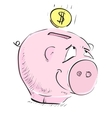 Money cartoon pig money box sketch icon vector image