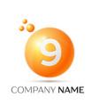 number nine splash logo orange dots and bubbles vector image vector image