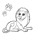 paw print with Lion Coloring Pages vector image vector image