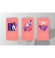 people in karaoke club mobile app page onboard vector image vector image