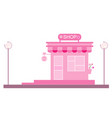 pink tone shop with cute decorations vector image